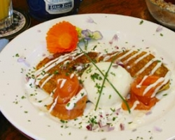 Corn Fritters with Poached Eggs, Smoked Salmon & Crème Fraiche