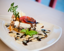 Portobello and Roasted Garlic Cheesecake w/ Balsamic Syrup & Crispy Oregano